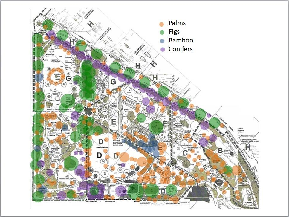 Very Rough Location Map showing major botanical collections in CBG