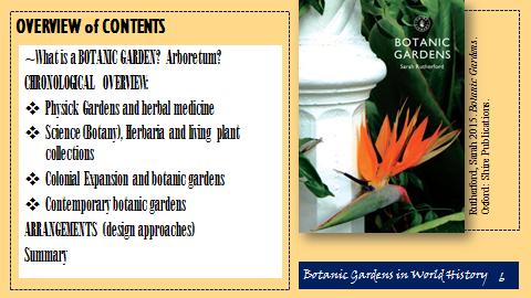 Key themes in talk Botanic Gardens in World History