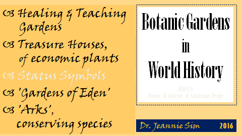 Title page to talk Botanic Gardens in World History