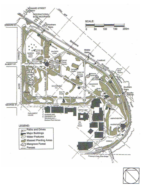 Brisbane Botanic Gardens Description Gardens Point overall map