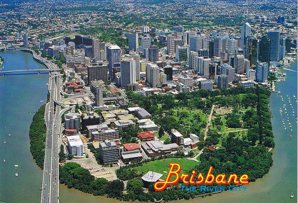 Brisbane City Botanic Gardens Description 1990s Postcard of Gardens Point