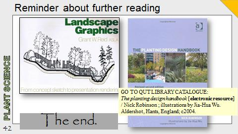 Ex Botanic Gardens planting design Talk: Further Reading references