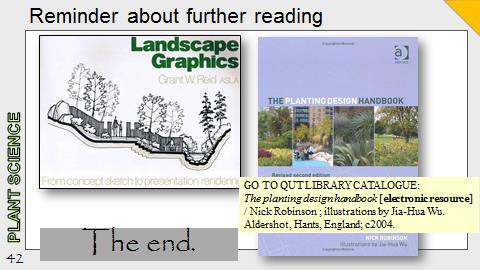 Ex Botanic Gardens planting design Talk: Further Reading references