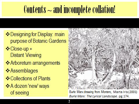 Contents page from Planting Design for Botanic Gardens Talk downloadable file.