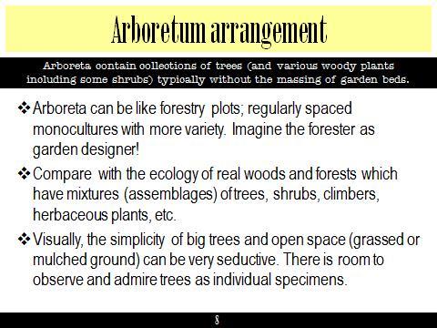 Ex Botanic Gardens planting design Talk: Arboretum arrangement